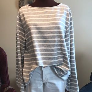 Striped sweater with bell sleeves